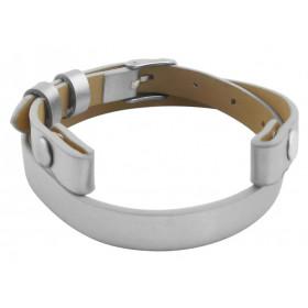 Bande de cuir argentée pour bracelet