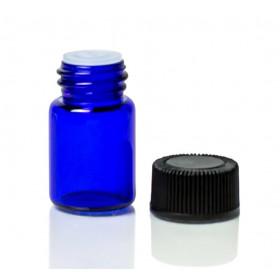 Flacon Bleu 1ml avec bouchon compte-gouttes (verre)